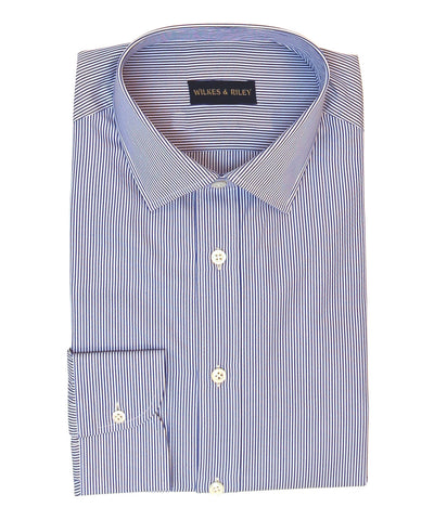 Tailored Fit Blue Bengal Stripe w/ Spread Collar Button Cuff