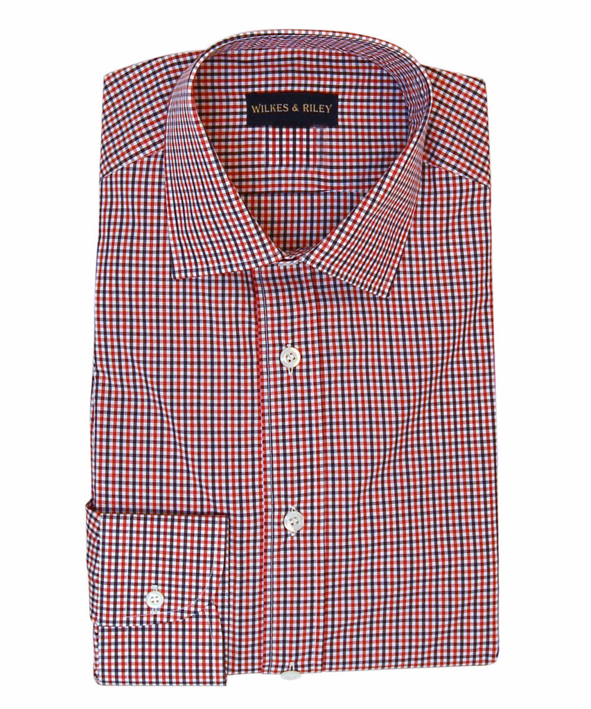 Wilkes & Riley Navy and Red Check English Spread Collar Button Cuff Men's Button Down Shirt.