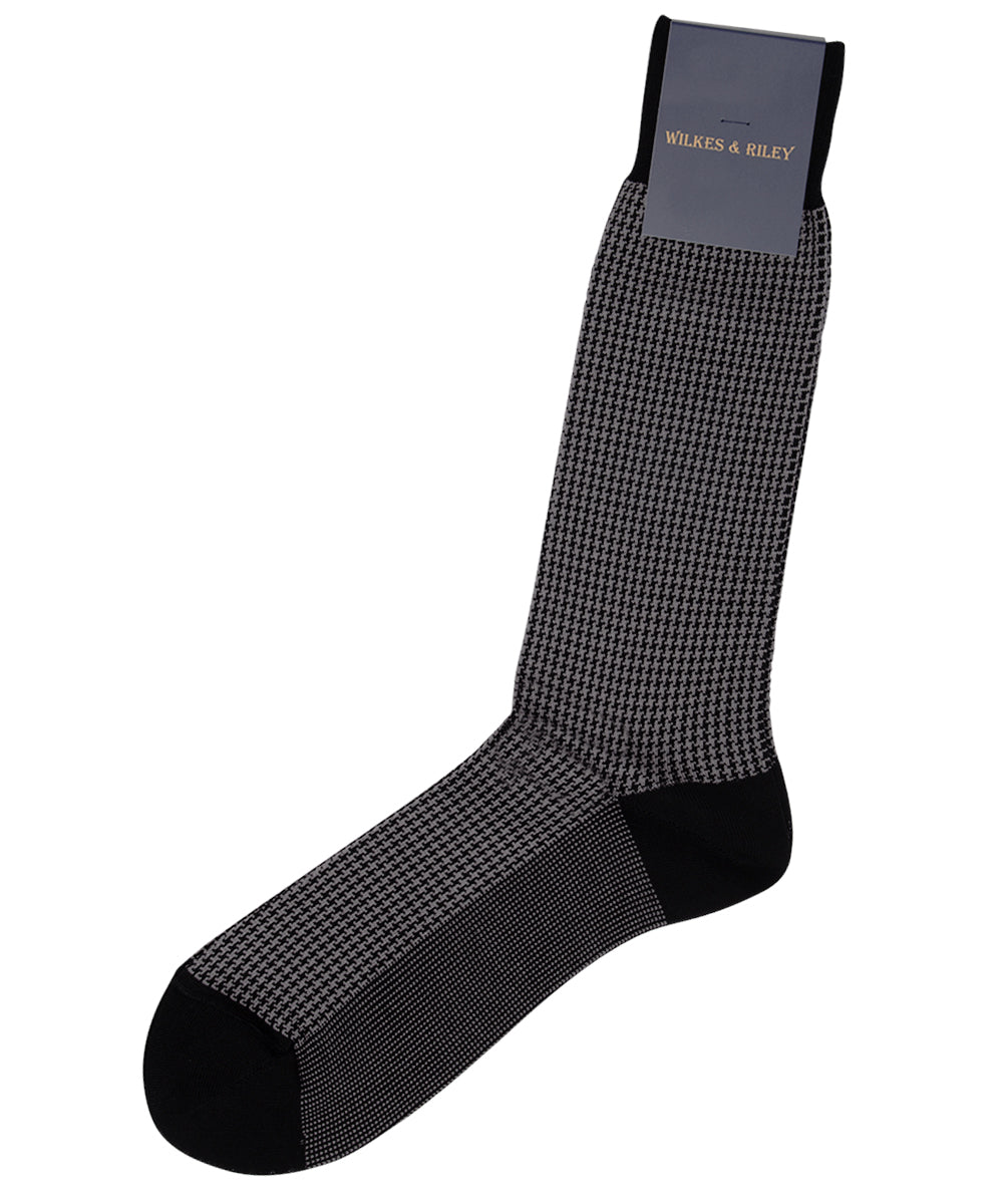 Black Houndstooth Egyptian Cotton - Mid Calf Sock