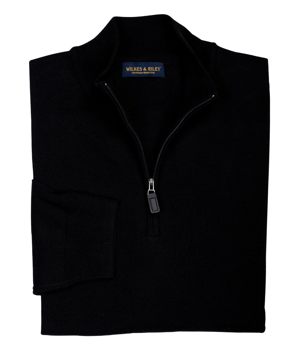 Ultra-fine Zegna Baruffa Half-Zip Merino Wool Sweater - Black