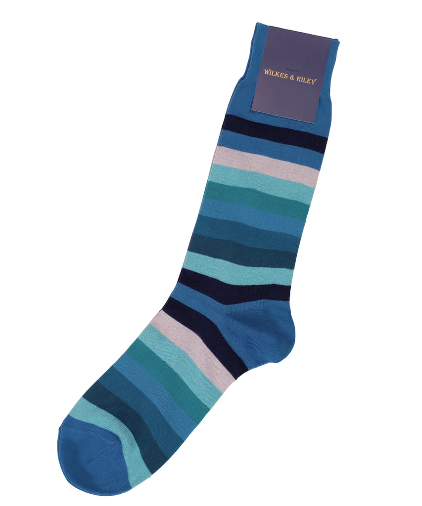 Blue Multi Bar Stripe Cotton Sock - Mid Calf