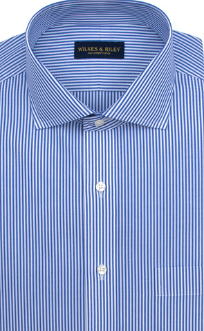 Tailored Fit Blue Bengal Stripe English Spread Collar  Supima® Cotton Non-Iron Broadcloth Dress Shirt
