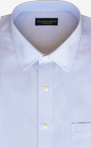 Classic Fit Light Blue End On End Stripe Spread Collar Supima® Cotton Non-Iron broadcloth Dress Shirt (B/T)