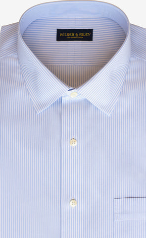 Classic Fit Light Blue End On End Stripe Spread Collar Supima® Cotton Non-Iron broadcloth Dress Shirt