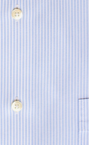 Tailored Fit Light Blue End On End Stripe Spread Collar  Supima® Cotton Non-Iron Dress Shirt
