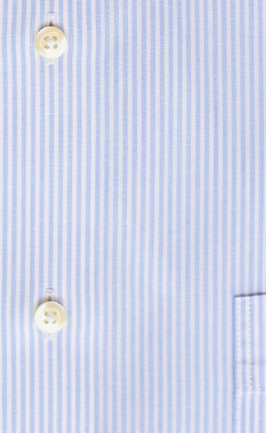 Tailored Fit Light Blue End On End Stripe Spread Collar  Supima® Cotton Non-Iron Dress Shirt (B/T)