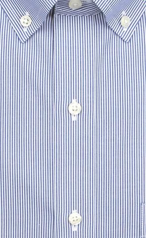 Wilkes & Riley Tailored Fit Blue Fine Line Stripe Button-Down Collar Supima® Cotton Non-Iron Pinpoint Oxford Dress Shirt Alt