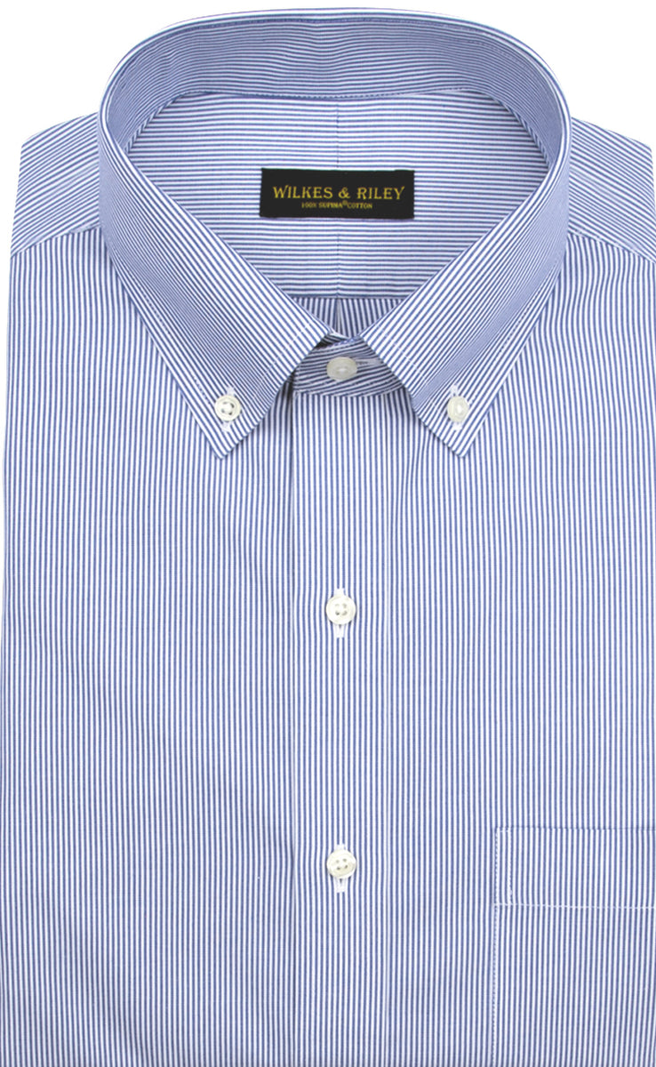 Wilkes & Riley Tailored Fit Blue Fine Line Stripe Button-Down Collar Supima® Cotton Non-Iron Pinpoint Oxford Dress Shirt