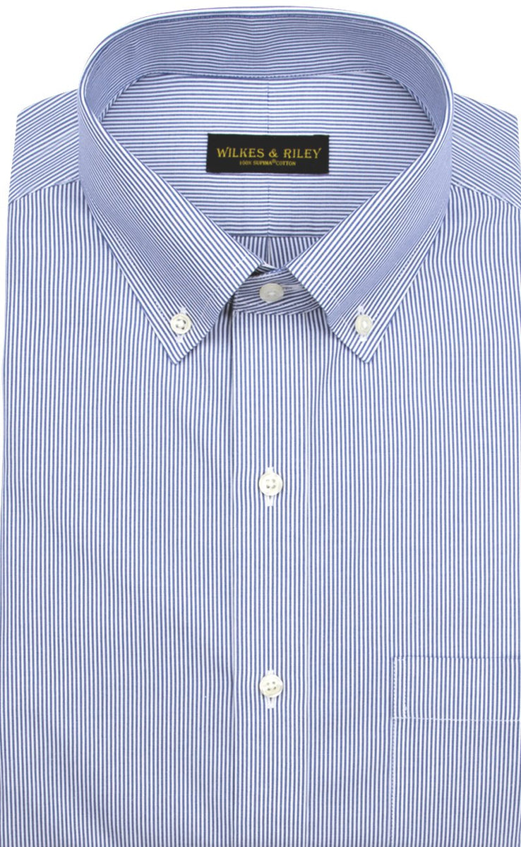 Wilkes & Riley Classic Fit Blue Fine Line Button-Down Collar Supima® Cotton Non-Iron Pinpoint Oxford Dress Shirt
