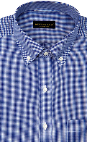 Slim Fit Blue Gingham Check Button Down Collar Supima® Cotton Non-Iron Broadcloth
