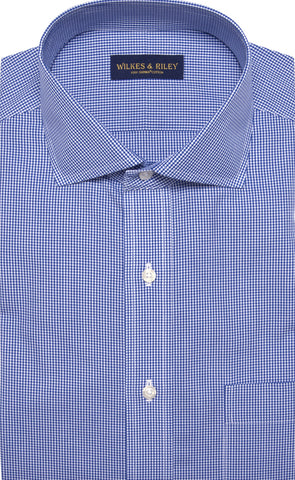 Tailored Fit Blue Gingham English Spread Collar  Supima® Cotton Non-Iron Broadcloth