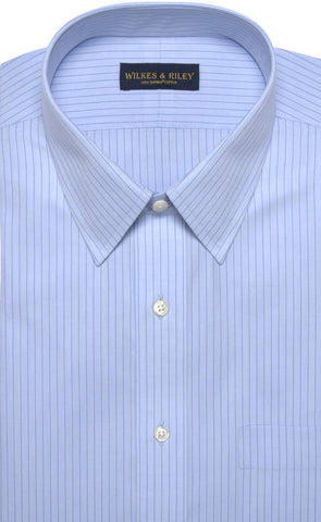 Classic Fit Blue Stripe Point Collar Supima® Cotton Non-Iron Broadcloth Dress Shirt