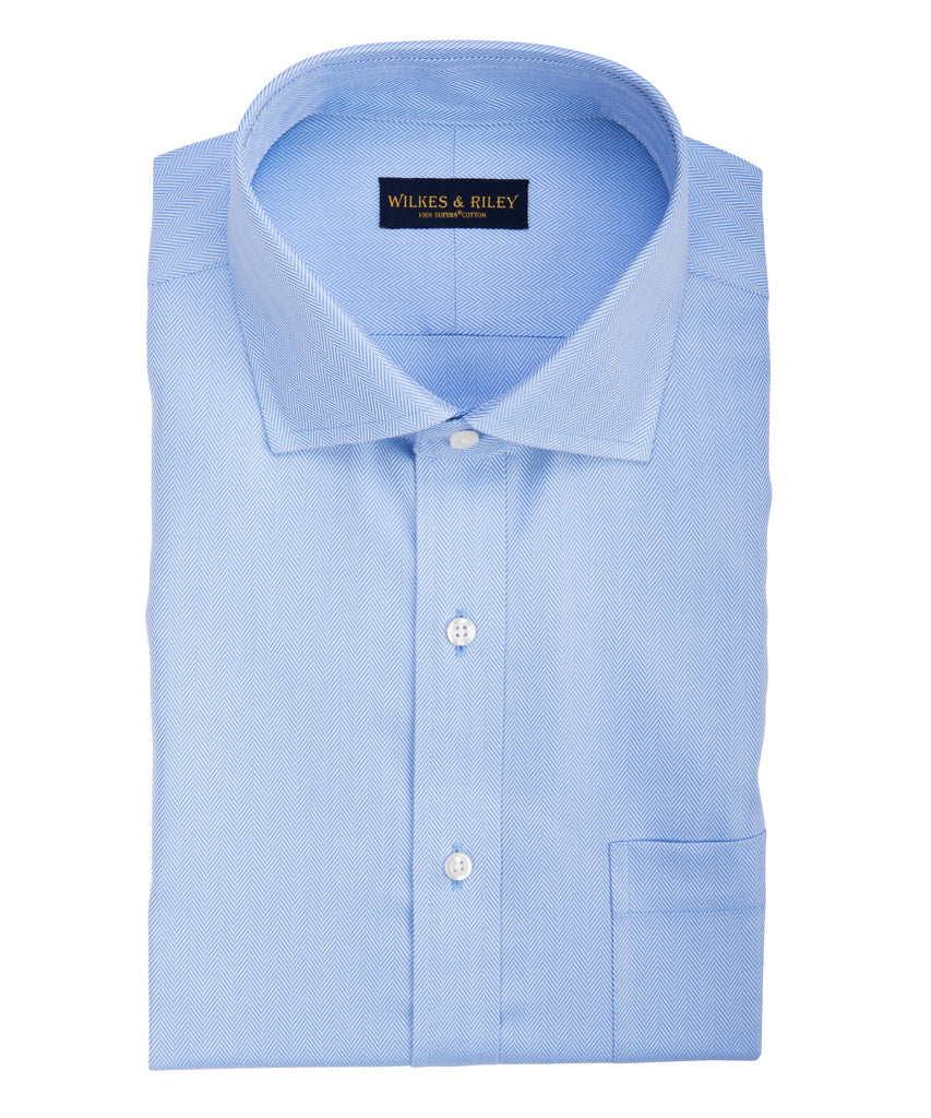 Tailored fit Blue Herringbone English Spread Collar Supima® Cotton Non-Iron Dress Shirt