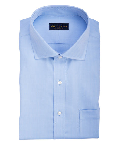 Tailored fit Blue Herringbone English Spread Collar Supima® Cotton Non-Iron Dress Shirt (B/T)