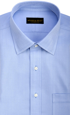 Classic Fit Blue Herringbone Spread Collar Supima® Cotton Non-Iron Dress Shirt