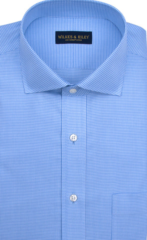 Classic fit Blue Houndstooth English Spread Collar Supima® Cotton Non-Iron Twill Dress Shirt