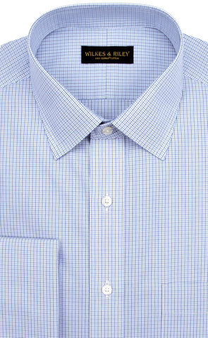 Tailored Fit Blue / Navy Micro Check Spread Collar French Cuff Supima® cotton Non-Iron Broadcloth Dress Shirt