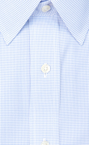 Wilkes and Riley Tailored Fit Blue Mini Check Point Collar Supima® Cotton Non-Iron Broadcloth Alt