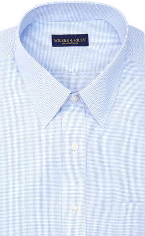 Wilkes and Riley Tailored Fit Blue Mini Check Point Collar Supima® Cotton Non-Iron Broadcloth
