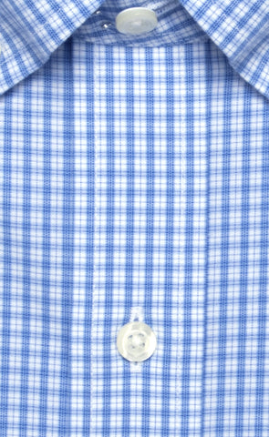 Wilkes & Riley Slim Fit Blue Plaid Button-Down Collar Supima® Cotton Non-Iron Broadcloth Dress Shirt Alt