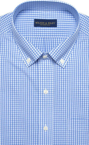 Classic Fit Blue Plaid Button-Down Collar Supima® Cotton Non-Iron Broadcloth Dress Shirt