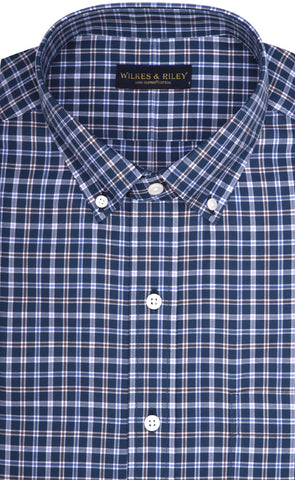 Classic Fit Blue Multi Plaid Twill Button-Down Collar Supima® Cotton Non-Iron Sport Shirt