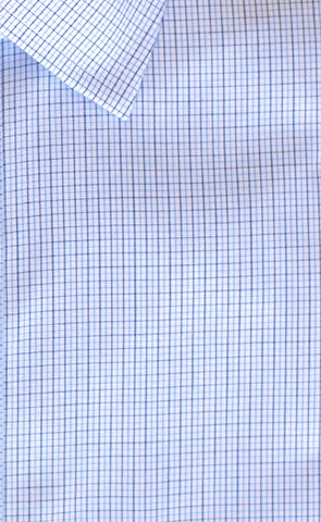 Tailored Fit Blue / Navy Microcheck Spread Collar Supima® Cotton Non-Iron Broadcloth Dress Shirt (B/T)