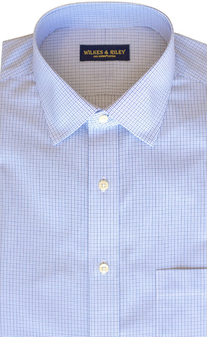 Classic Fit Blue / Navy Microcheck Spread Collar  Supima® Cotton Non-Iron Broadcloth Dress Shirt