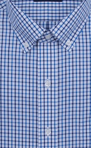 Wilkes & Riley Blue / Navy Tattersall Button-Down Collar Supima® Cotton Non-Iron Sport Shirt Alt