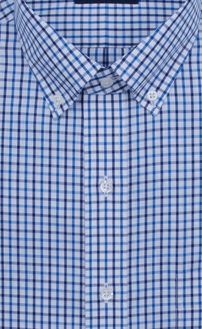 Wilkes & Riley Classic Fit Blue / Navy Tattersall Button-Down Collar Supima® Cotton Non-Iron Sport Shirt Alt