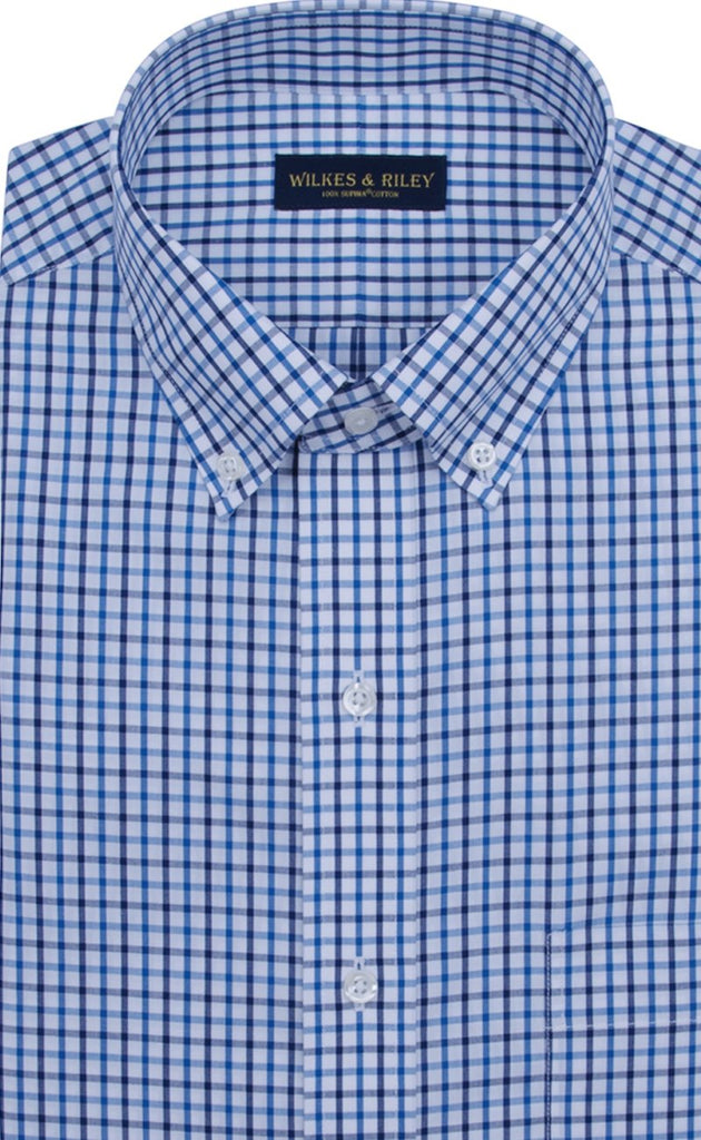 Wilkes & Riley Classic Fit Blue / Navy Tattersall Button-Down Collar Supima® Cotton Non-Iron Sport Shirt