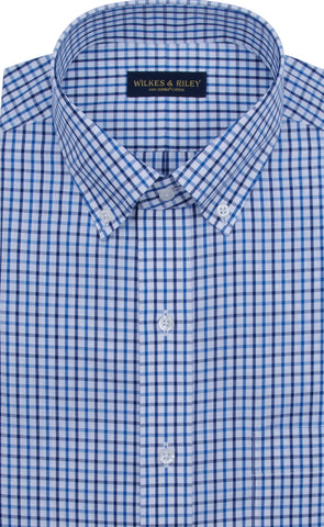 Classic Fit Blue / Navy Tattersall Button-Down Collar Supima® Cotton Non-Iron Broadcloth Sport Shirt