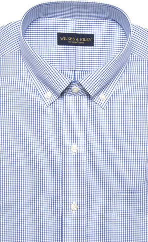 Classic Fit Blue Check Button-Down Collar Supima® Cotton Non-Iron Pinpoint Oxford Dress Shirt