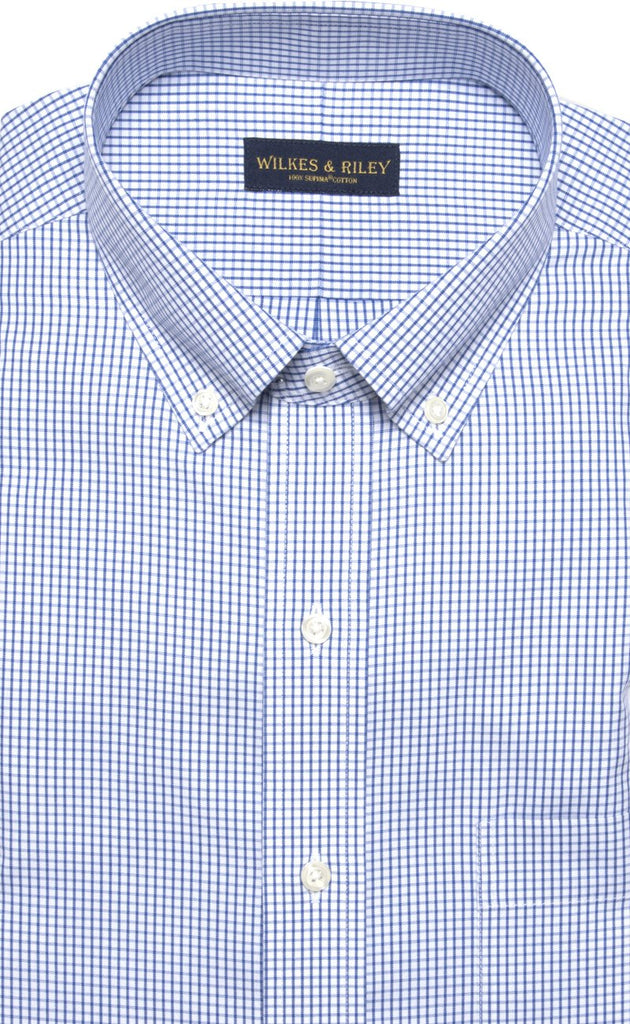 Wilkes & Riley Blue Pinpoint Check Button Down