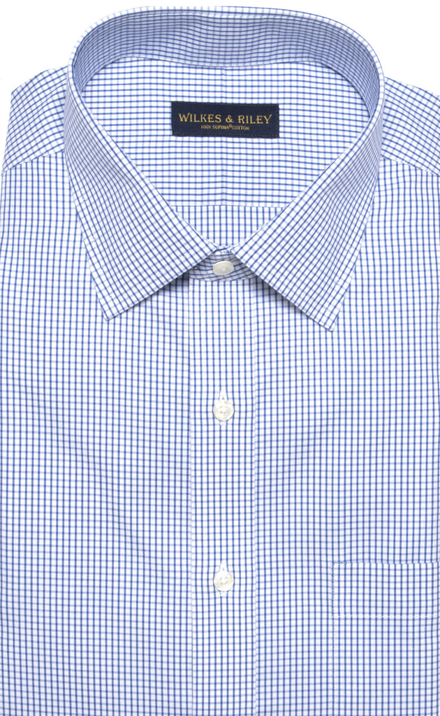 Wilkes & Riley Blue Pinpoint Check Spread Collar