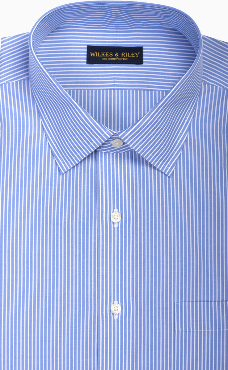 Tailored Fit Blue Reverse Stripe Non Iron Mens Dress Shirt Wilkes