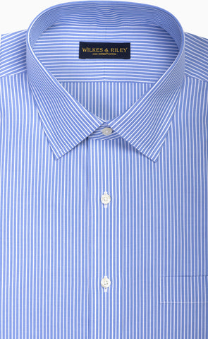 Tailored Fit Blue Reverse Stripe Spread Collar  Supima® Cotton Non-Iron Broadcloth Dress Shirt