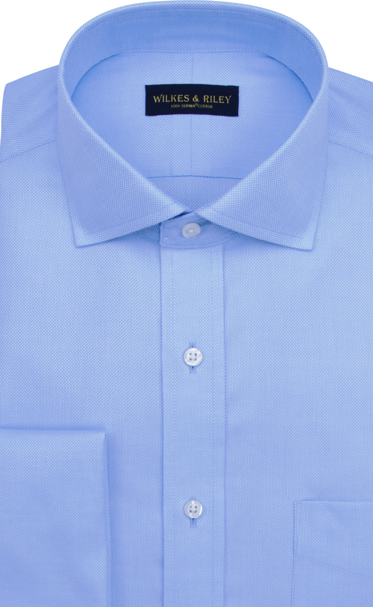 Wilkes and Riley Tailored Fit Blue Solid Royal Oxford English Spread Collar French Cuff Supima® Cotton Non-Iron Dress Shirt
