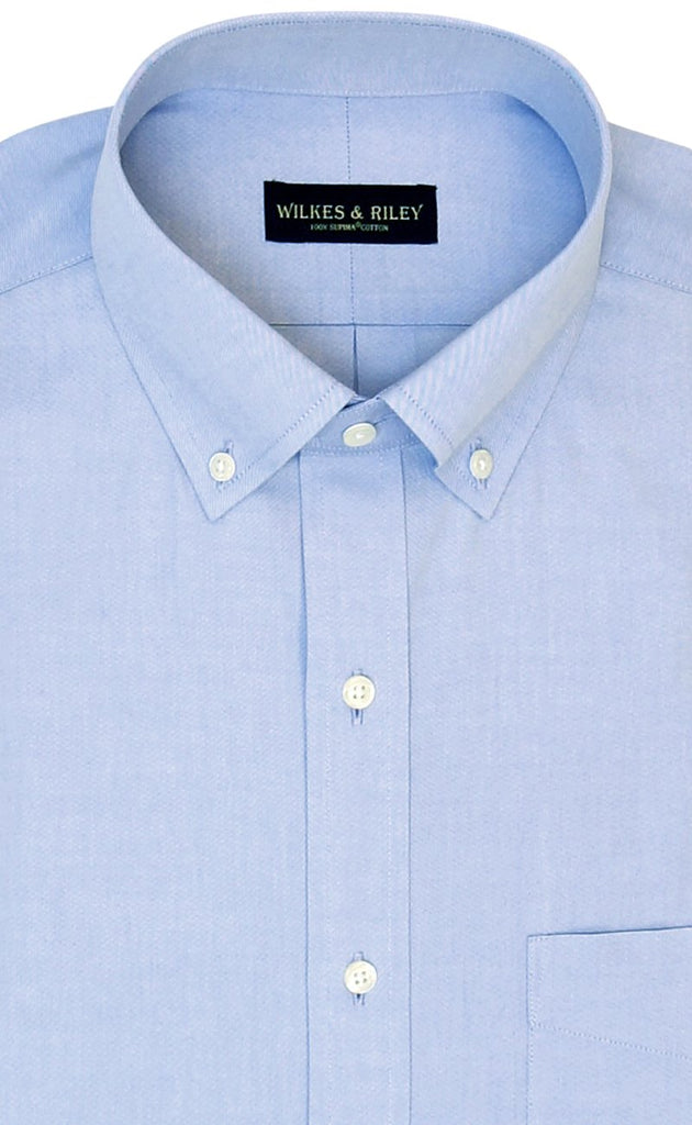 Wilkes and Riley Tailored Fit Blue Solid Button-Down Collar Supima® Cotton Non-Iron Pinpoint Oxford Dress Shirt
