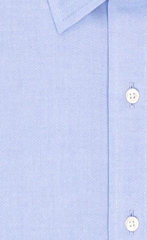 Wilkes and Riley Tailored Fit Blue Solid Spread Collar Supima® Cotton Non-Iron Pinpoint Oxford Dress Shirt Alt