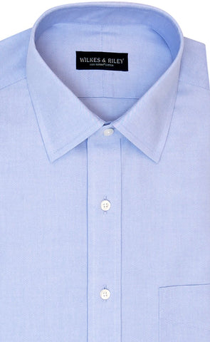 Wilkes and Riley Tailored Fit Blue Solid Spread Collar Supima® Cotton Non-Iron Pinpoint Oxford Dress Shirt