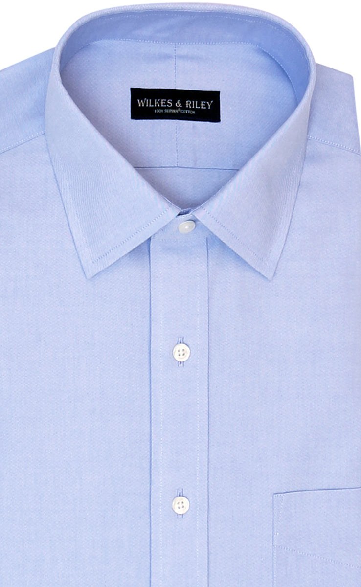 Wilkes and Riley Classic Fit Blue Solid Spread Collar Supima® Cotton Non-Iron Pinpoint Oxford Dress Shirt
