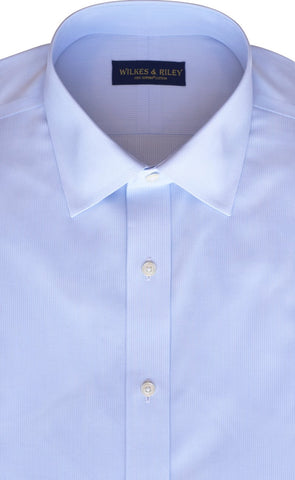 Tailored Fit Light Blue Tonal Stripe Spread Collar  Supima® Cotton Broadcloth Non-Iron Dress Shirt (B/T)