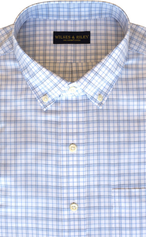 Tailored Fit Blue & Sky Twill Check Supima® Cotton Non-Iron Button-Down Collar Sport Shirt