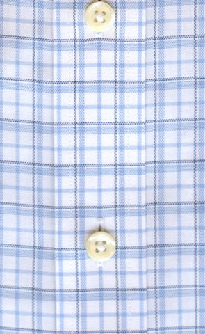 Tailored Fit Blue & Sky Twill Check Supima® Cotton Non-Iron Button-Down Collar Sport Shirt (B/T)