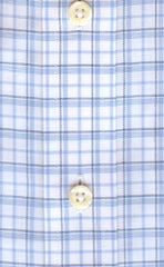 Classic Fit Blue / Navy Twill Check Button-Down Collar Supima® Cotton Non-Iron Sport Shirt