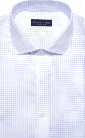 Classic Fit Blue Check English Spread Collar Supima® Cotton Non-Iron Twill Dress Shirt