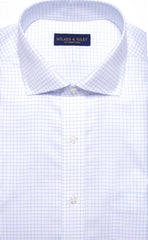 Wilkes & Riley Blue Twill Check English Spread Collar
