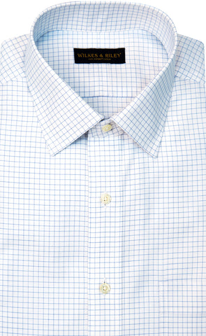 Wilkes & Riley Blue Twill Check Spread Collar