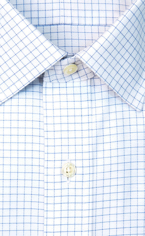 Wilkes & Riley Blue Twill Check Spread Collar Alt